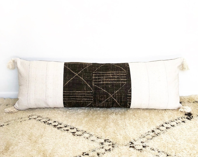 XXL African Mudcloth, Tribal Linen And Tassel Lumbar Pillow 18x52