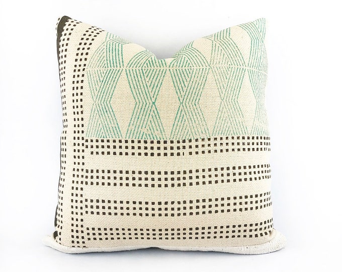 Hand Block Printed Textile And African Mudcloth Pillow Cover 18x18