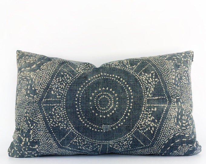 Antique Chinese Indigo Batik Lumbar Pillow Cover 16x26