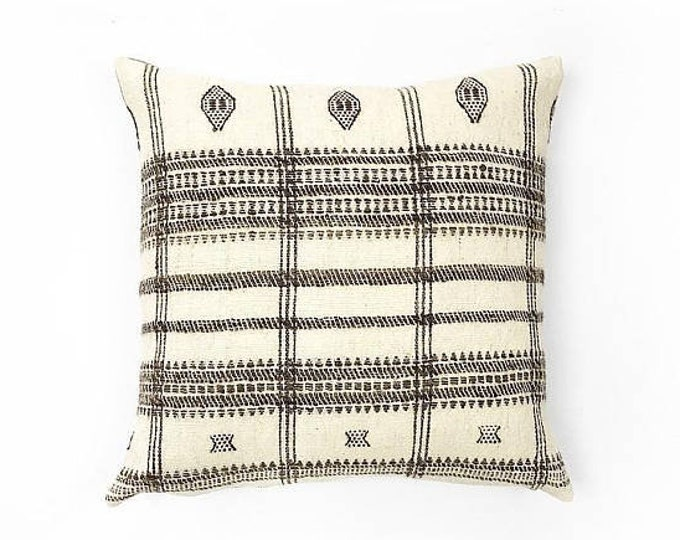 Handwoven Cream And Brown Natural Wool Indian Blanket Textile Pillow Cover 22x22