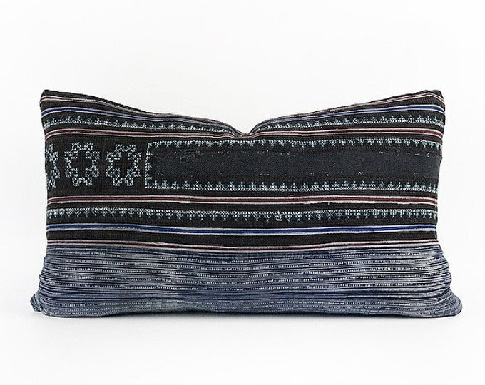 Vintage Hand Embroidered Indigo Hmong Batik Lumbar Pillow Cover 14x24