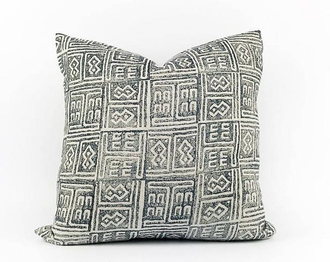 READY TO SHIP  Hand Block Printed Indigo Linen Pillow Cover 18x18