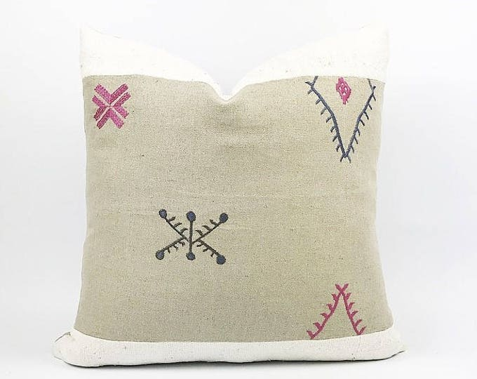READY TO SHIP Embroidered Flax Linen Moroccan Textile And African Mudcloth Pillow Cover 20x20