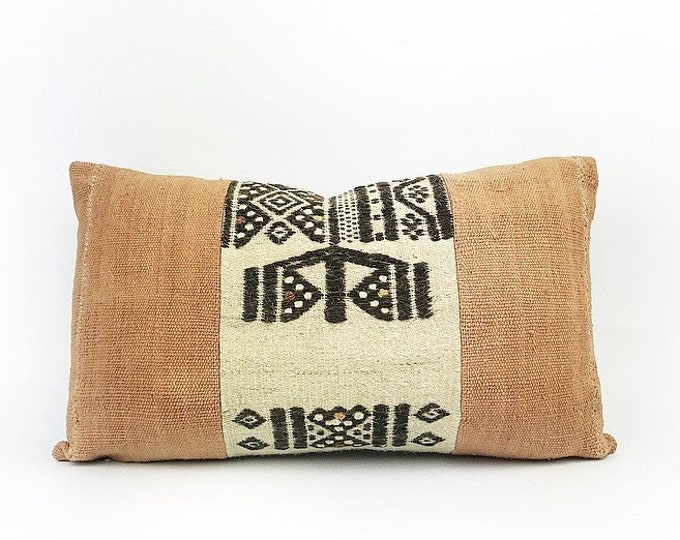 Vintage Wool African Fulani Textile And Terra Cotta Mudcloth Lumbar Pillow Cover 12x20