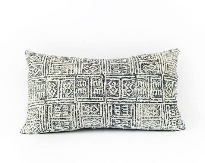 READY TO SHIP  Hand Block Printed Tribal African Linen Lumbar Pillow Cover 12x20