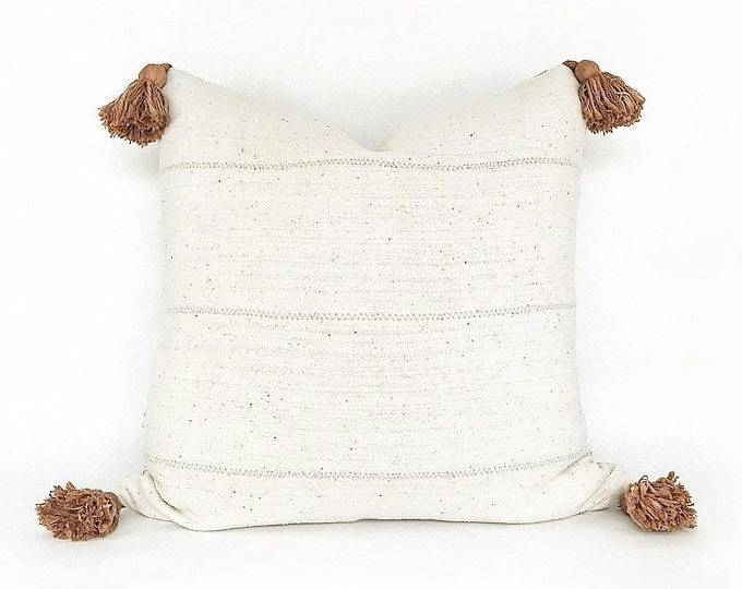 African Mudcloth With Tobacco Color Tassels Pillow Cover 20x20
