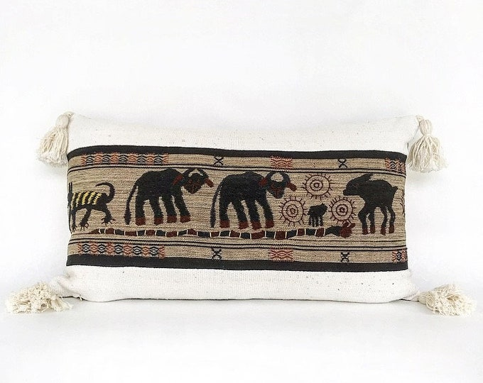 Naga Tribal Hand Embroidered Textile, African Mudcloth And Tassel Lumbar Pillow Cover 14x24