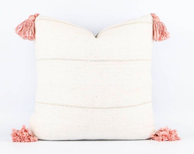 Authentic Natural White African Mudcloth Textile And Blush Pink Tassel Pillow Cover Various Sizes