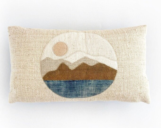 African Mudcloth Modern Minimal Landscape Circle Pillow Cover 14x24