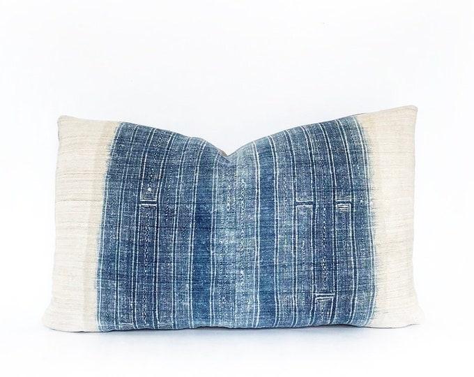 Vintage Hemp Hmong Hill Tribe Batik Textile Lumbar Pillow Cover 12x20