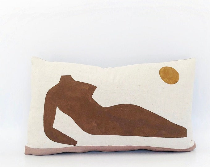 Hand Painted Sexy Lady Pillow 12x20