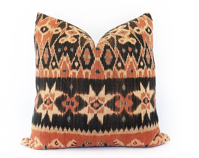 Vintage Indonesian Ikat Tribal Textile Pillow Cover 20x20