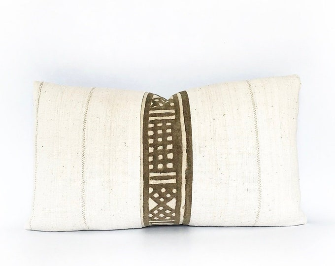 Vintage Brown African Mudcloth And Natural White Mudcloth Lumbar Pillow Cover 14x24