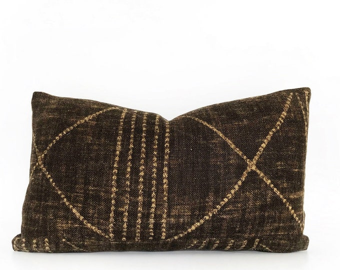 Brown African Tribal Linen Pillow Cover 12x20