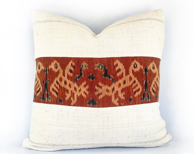 Vintage Indonesian Ikat Tribal Textile And African Mudcloth Pillow Cover 20x20
