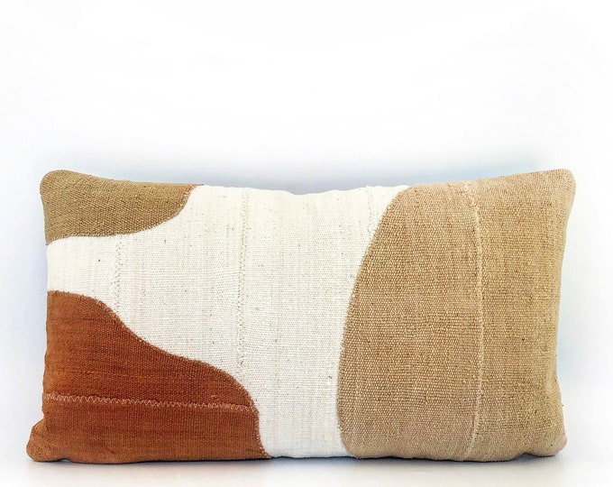 African Mudcloth Modern Abstract Lumbar Pillow Cover 14x24