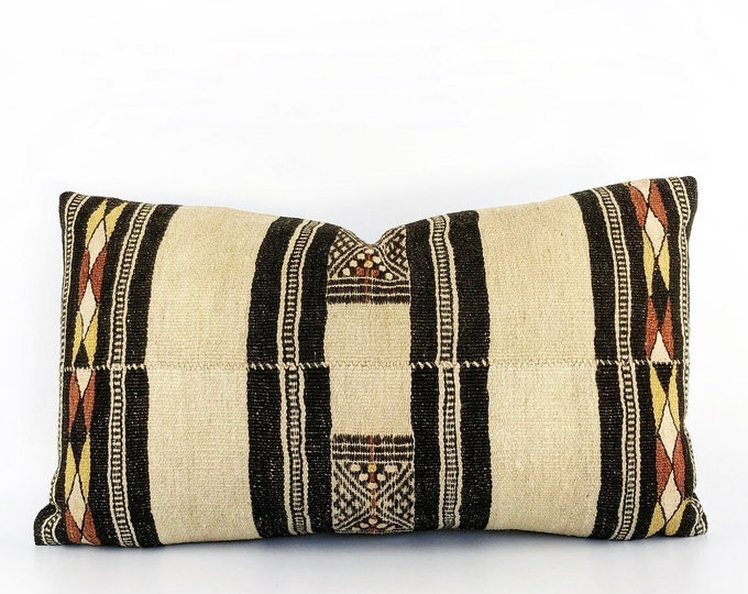 Handwoven Wool Vintage African Fulani Textile Lumbar Pillow Cover 14x24