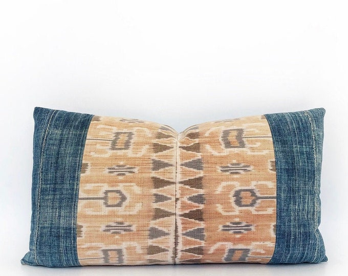 Vintage Indonesian Ikat Tribal Textile And African Indigo Pillow Cover 14x24