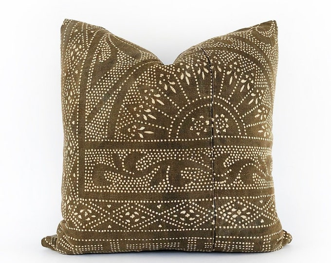Antique Brown Chinese Batik Textile Pillow Cover 20x20