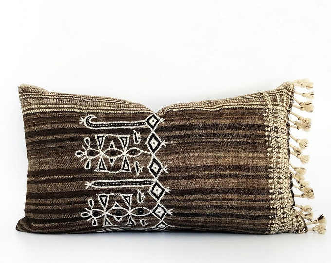 Handwoven And Hand-Spun Indian Wool Tassel Pillow Cover 14x24