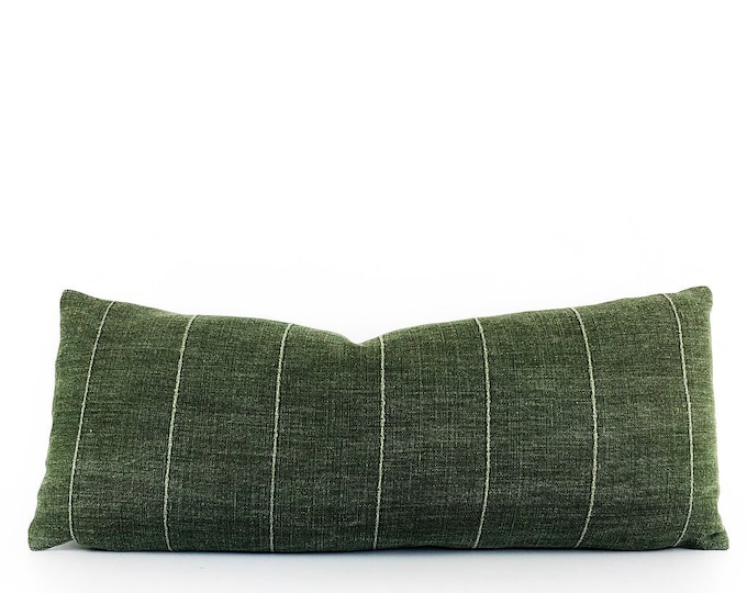 Green Designer Linen Pillow Cover 12x28
