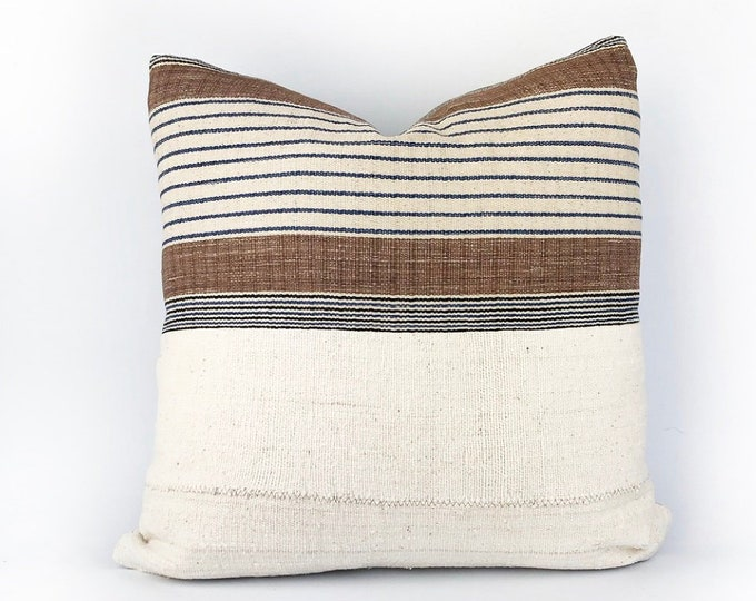 Hmong Hill Tribe Stripe Woven Textile And African Mudcloth Pillow Cover 20x20