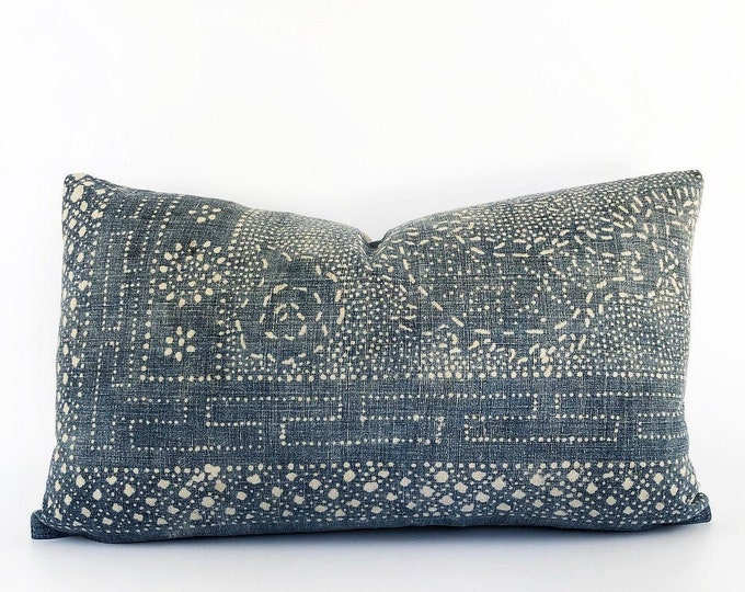 Antique Indigo Chinese Batik Lumbar Pillow Cover 14x24