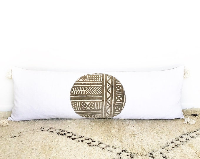 XXL Vintage African Mudcloth, Vintage French Linen And Tassel Lumbar Pillow Cover 18x52