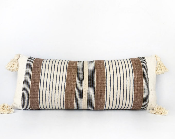 Hmong Hill Tribe Textile, African Mudcloth And Tassel Lumbar Pillow Cover 12x28