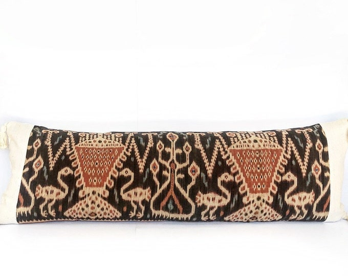 XXL Vintage Indonesian Ikat Textile, African Mudcloth And Tassel Pillow Cover 18x52