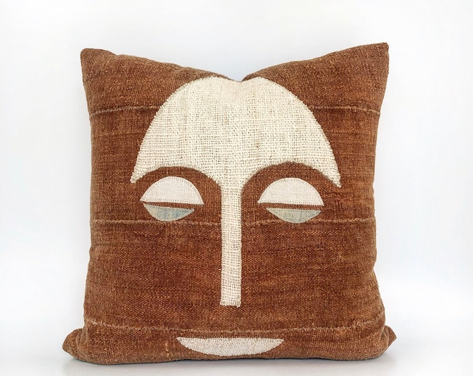 African Mudcloth Textile Tribal Mask Pillow Cover 20x20