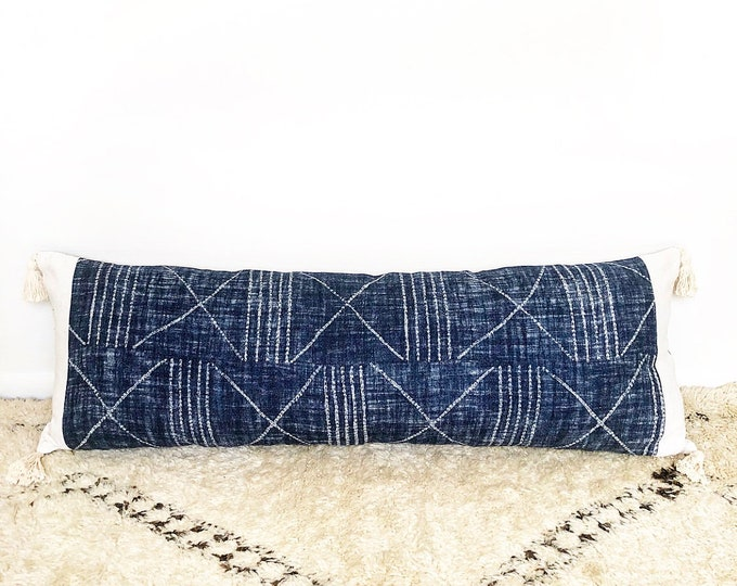 XXL Tribal Indigo Linen, African Mudcloth And Tassel Lumbar Pillow Cover 18x52