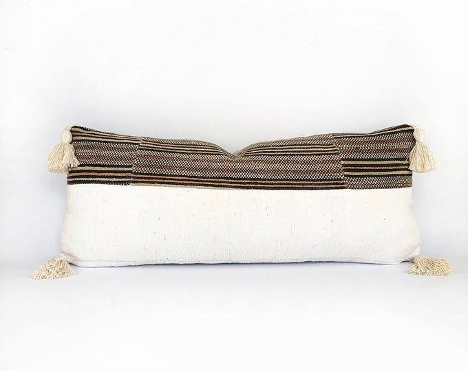 Vintage Hmong Hill Tribe Stripe Woven Textile, African Mudcloth And Tassel Pillow Cover 12x28