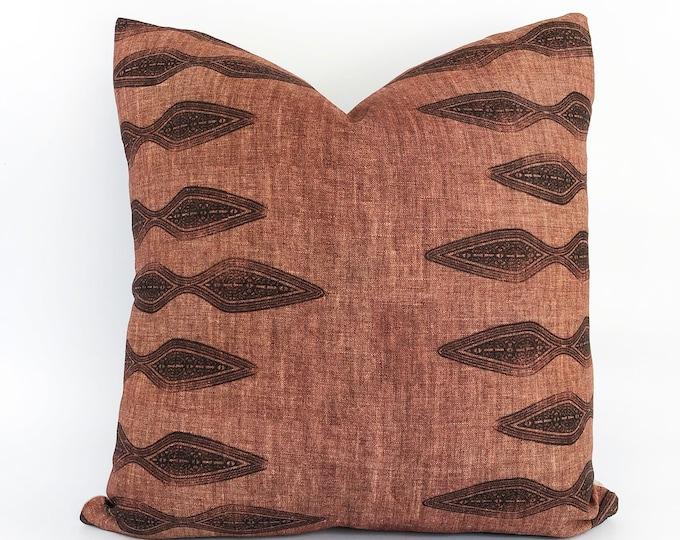 Block Printed Linen Pillow Cover 18x18
