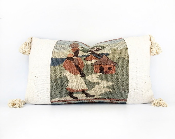 Vintage Handwoven Wool Textile, African Mudcloth And Tassel Lumbar Pillow Cover 14x24