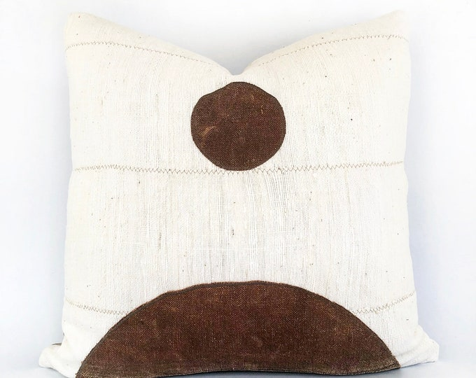 Antique Japanese Sake Bag Textile And African Mudcloth Modern Pillow Cover 20x20