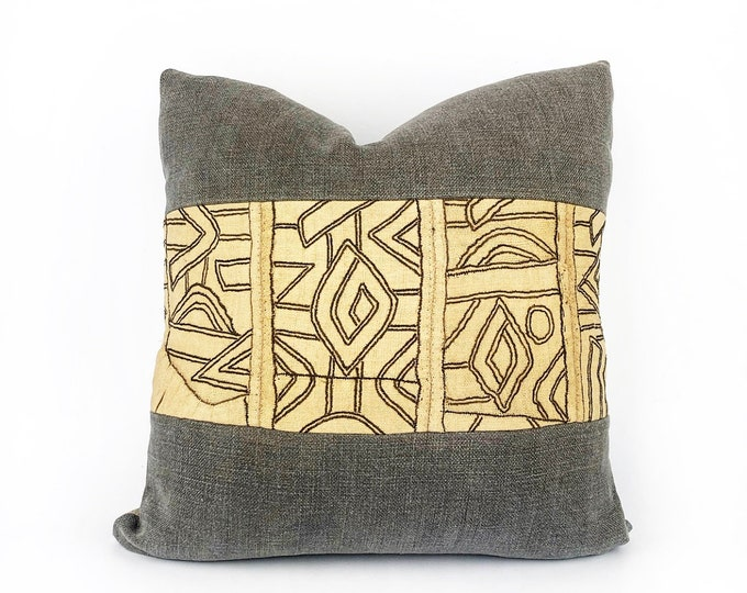 Vintage African Kuba Cloth Textile And Belgian Linen Pillow Cover 18x18