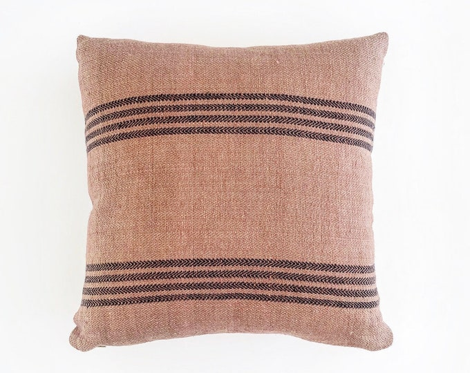 Mauve Pink Linen Grain Sack Pillow Cover 20x20