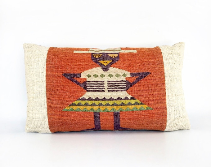 Vintage Mexican Wool Woven Textile Lumbar Pillow Cover 14x24