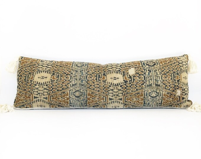 Handwoven Antique Ikat Tribal Textile And Tassel Lumbar Pillow Cover 12x34