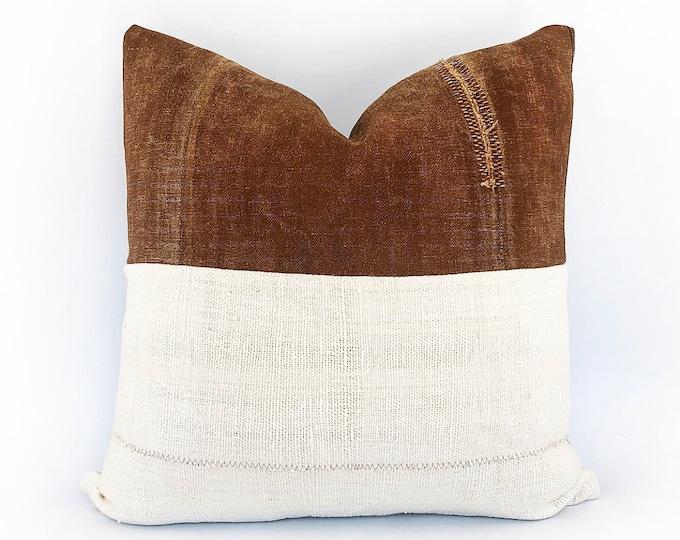 Antique Japanese Saka-Bukuro Sake Bag And African Mudcloth Pillow Cover 20x20