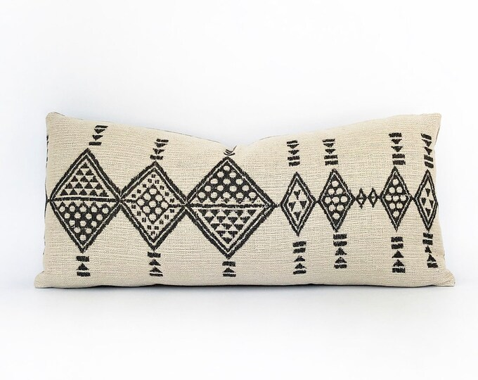 Woven Tribal Black and Off-White Lumbar Pillow Cover 11x23