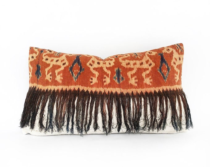 Vintage Fringe Ikat Textile And African Mudcloth Lumbar Pillow Cover 14x24