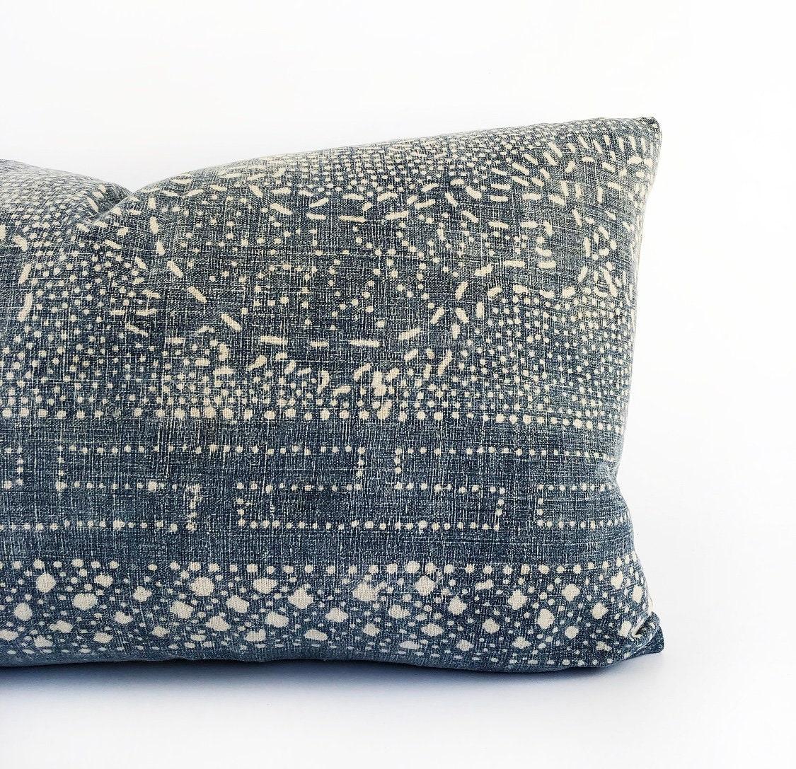 Antique Indigo Chinese Batik Lumbar Pillow Cover 14x24
