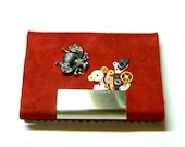 Queen Bee Rich red Steampunk business card case, metal leather holder, stash box, wallet, unique birthday gift pill box, keepsake surprise