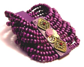 Steampunk bracelet Radiant Orchid jewelry Purple impression wedding violet necklace earrings ring lavender favorite color of Cleopatra