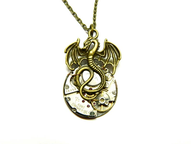 Little Dragon, Skyrim Inspired Steampunk jewelry Draco, bronze or silver or  gold winged serpent, old clockwork, gift for man, mens jewellery