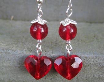 Red Heart Swarovski Crystal Dangle Earrings
