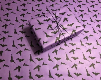 1 Roll Handmade Gift Wrap FREE Shipping Black Bats on Purple Gothic Wrapping Paper