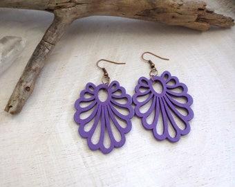 Purple Wood Earrings, Bohemian Statement Earrings, Copper Earrings, Hippie Gypsy Jewelry